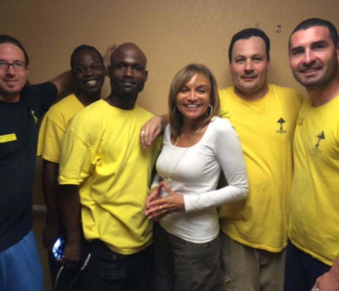 Pam Moore from KRON 4 news with the Pyramid Crew after a move for a family friend.